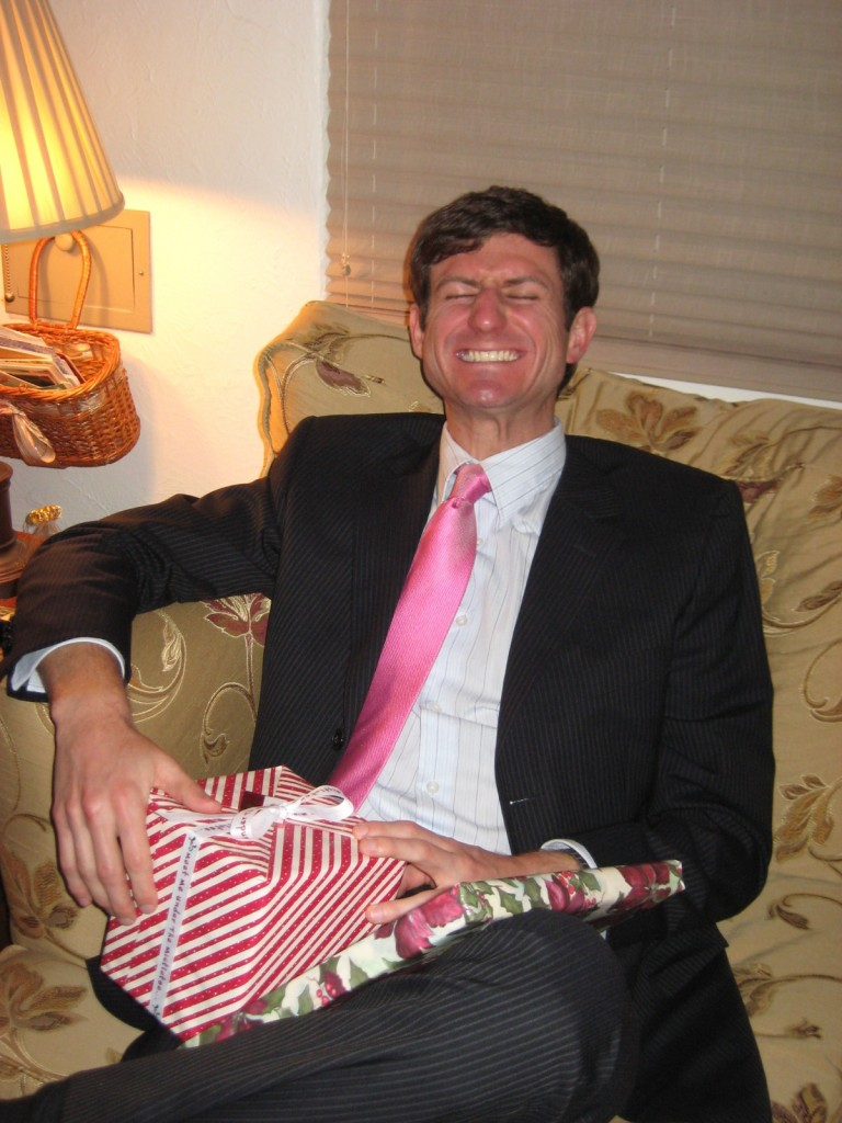 Rocking the pink tie for Christmas!