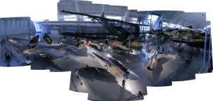 F4 Phantom and other modern aircraft. Joint Strike Fighter F-35 off to the left.